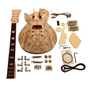 Left Handed DIY electric guitar kit GDLP77L LP style Solid Mahogany body with Spalted Maple Veneer