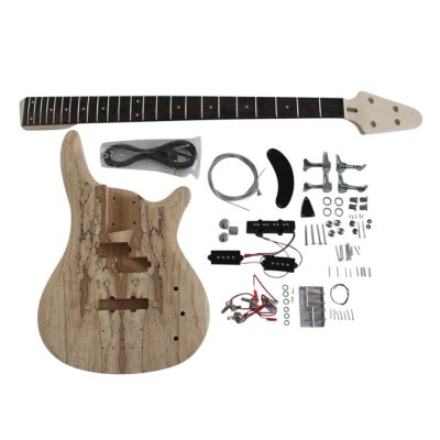 Electric Bass Guitar DIY Kit Coban Guitars BASS901 Bass Guitar Kit Ash Body Spalted Maple Chrome Fittings