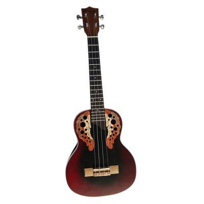 "Coban Guitars Concert 24"" Round Back Ukulele In Wine Burst CGOU-034"