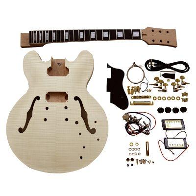 Electric Semi Hollow Guitar DIY Kit ES230 Flamed Veneer Gold