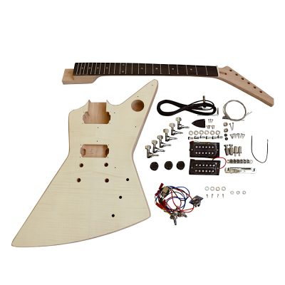 Electric Guitar DIY Kit EXP1FW Flamed Veneer White Fitting