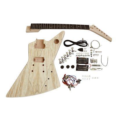 Electric Guitar DIY Kit EXP1SB Spalted Veneer Black Fitting