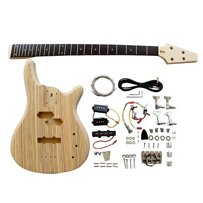 Electric Bass Guitar DIY Kit BZX2 Zebra Veneer Chrome Parts
