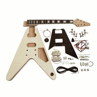 Electric Guitar DIY Kit FV1B Flamed Maple Chrome Black Pick