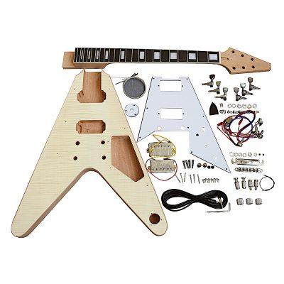 Electric Guitar DIY Kit FV1W Flamed Maple Chrome White Pick