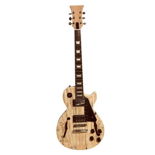 Electric Guitar DIY Kit Semi Hollow LPSH Flamed Maple Veneer Chrome Fittings Non Soldering