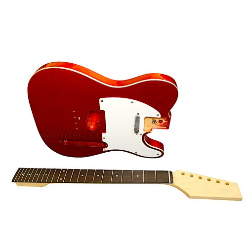 Electric Guitars DIY Kit TLCR Pre Painted in Metallic Candy Red White Pickguard
