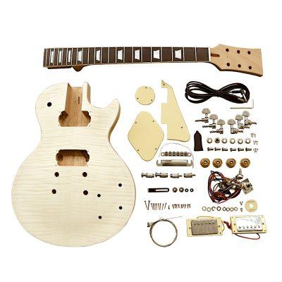 Electric Guitar DIY Kit LP740 Flamed Chrome Cream Fittings