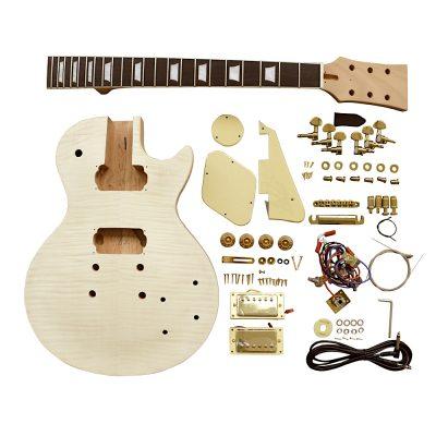 Electric Guitar DIY Kit LP740 Flamed Gold Cream Fittings