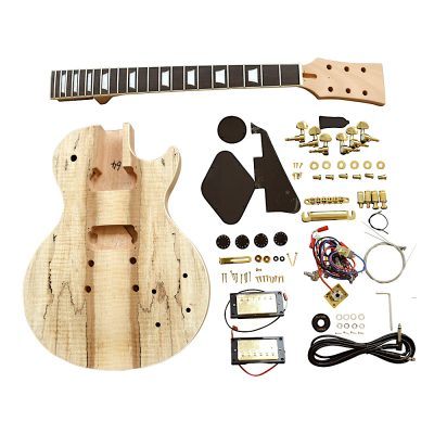 Electric Guitar DIY Kit LP710 Spalted Maple Gold Black Fitting