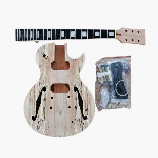 Electric Guitar DIY Kit Semi Hollow LPSH Spalted Maple Veneer Chrome Fittings