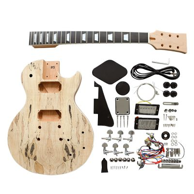 Electric Guitar DIY Kit LP711B Spalted Chrome Black Fittings