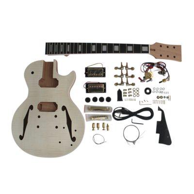 Electric Guitar DIY Kit Semi hollow LPSH Flamed Maple Veneer Gold Fittings Non Soldering