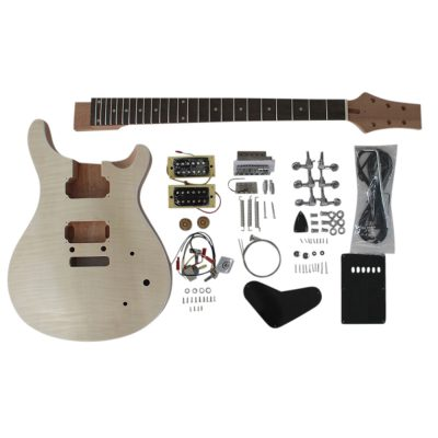 Electric Guitar DIY Kit Mahogany body with Flamed Maple Veneer PR-F Style No Soldering Required 8WMPRFMS