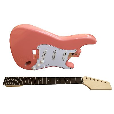 Electric Guitars Pre Painted DIY Kit STVP Ash Body Vintage Pink White Pickguard