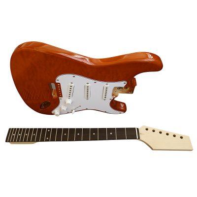Electric Guitars Pre Painted DIY Kit STOQ Ash Body Burnt Orange White Pickguard