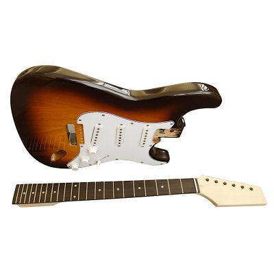 Electric Guitars Pre Painted DIY Kit STSB Ash Body 3 Tone Sunburst White Pickguard