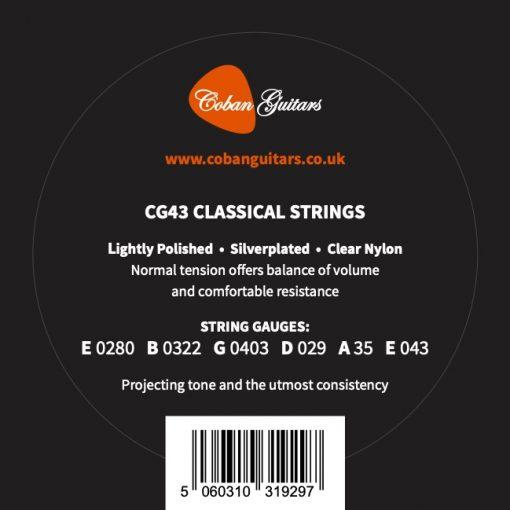 Coban Guitars New Improved Strings CG43 28-43 Nylon Classical Guitar Strings Normal Tension