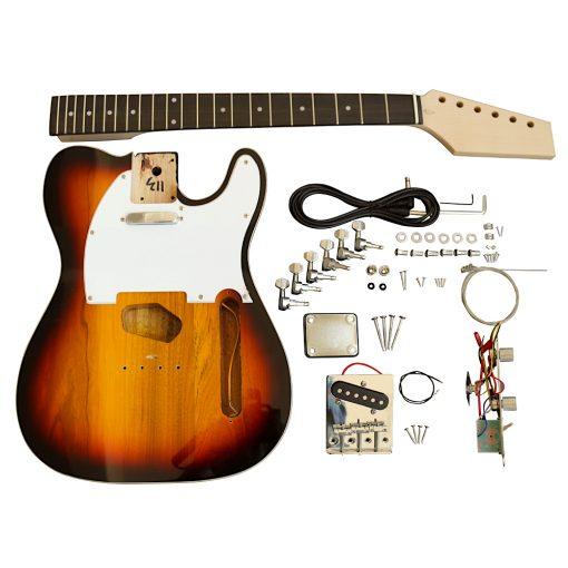Electric Guitars Pre Painted DIY Kit TL3T 3 Tone Sunburst with White Pickguard
