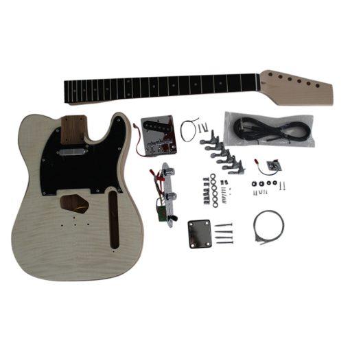 Electric Guitar DIY Kit TL60 Ash Body Flamed Veneer Chrome Fittings NON Soldering