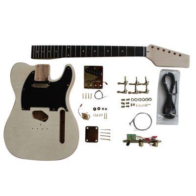 Electric Guitar DIY Kit TL60 Ash Body Flamed Veneer Gold Fittings NON Soldering