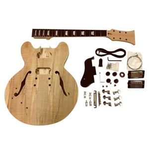 Electric Guitar DIY Kit Left handed Coban ES GDES22L Mahogany Semi Hollow body All Pre-drilled Electric Guitar DIY kit