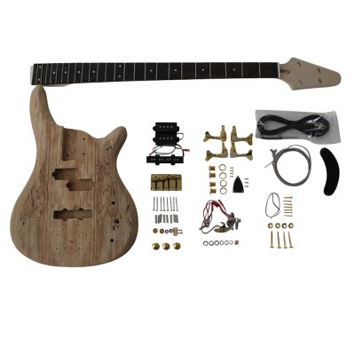 Electric Bass Guitar DIY Kit Coban Guitars BASS901 Bass Guitar Kit Ash Body Spalted Maple Gold Fittings NO Soldering