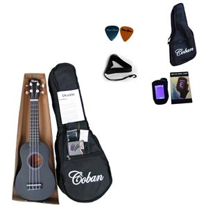 Coban Matt Black Ukulele Complete package