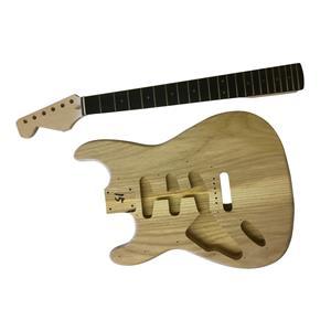 GD4444W Left Handed Coban DIY Electric Guitar Kit Solid Ash Body Ebony White Pickguard