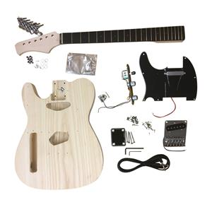 GD6666W Left handed Luthier DIY Guitar Kit All Pre-drilled with White Fitting, Neck Bolt on.