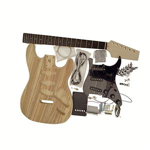 Electric Guitar DIY Kit Coban Guitars Electric Guitar DIY ST Kit GDST4404 Z With Single Sided Original Zebrawood